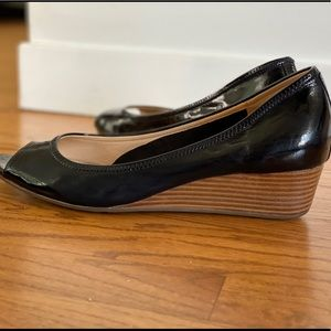 Cole Haan Open Toe Wedge Patent Leather